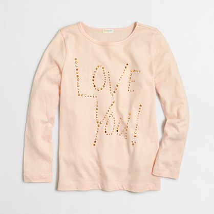 Girls' long-sleeve love you keepsake T-shirt