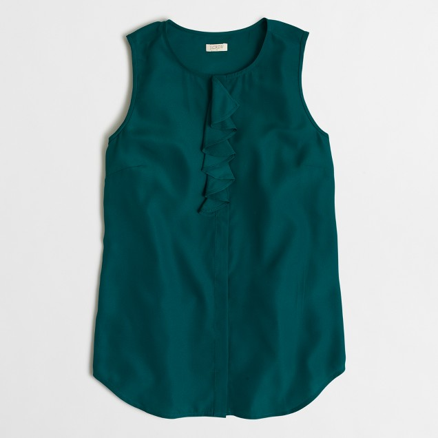 Sleeveless ruffled-placket shirt