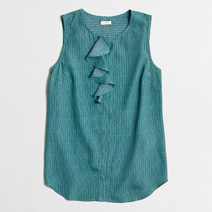 Petite sleeveless ruffled-placket shirt
