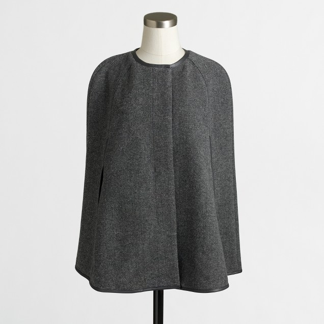 Grey and black wool cape