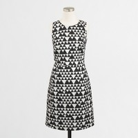 Petite pleated dress in geometric jacquard
