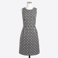 Pleated dress in geometric jacquard