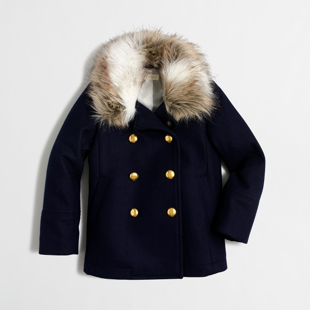 Girls' faux-fur-collar peacoat
