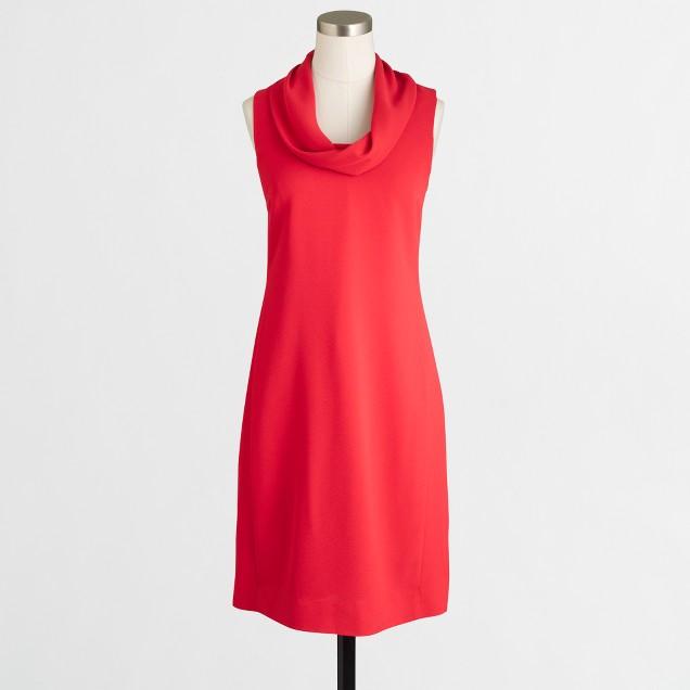 Crepe cowlneck shift dress