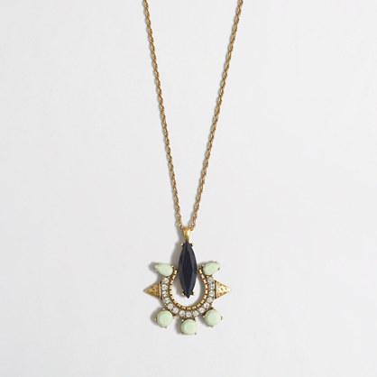 Stone and crystal horseshoe pendant necklace