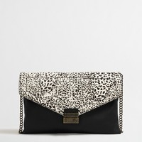 Snow leopard calf hair clutch