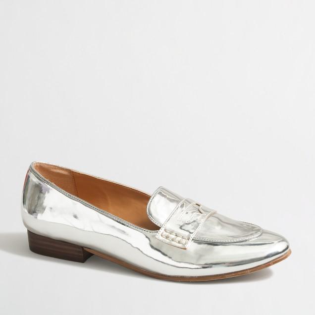 Metallic stacked-heel loafers