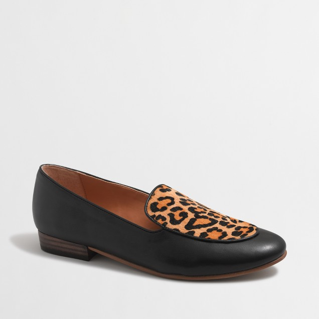 Calf hair stacked-heel loafers