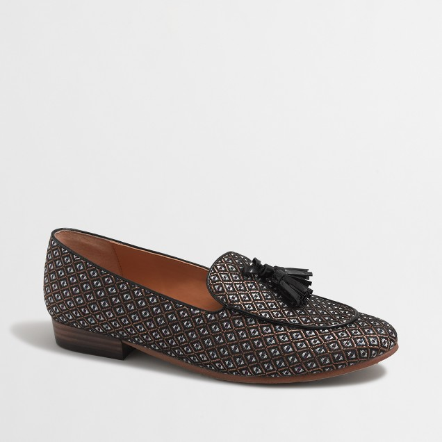 Jacquard stacked-heel loafers