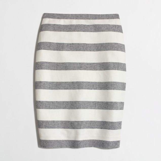 Striped Pencil Skirt in Basketweave