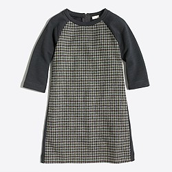 Girls' houndstooth-panel sweatshirt dress
