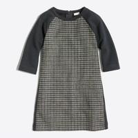Girls' houndstooth-panel sweatshirt dress