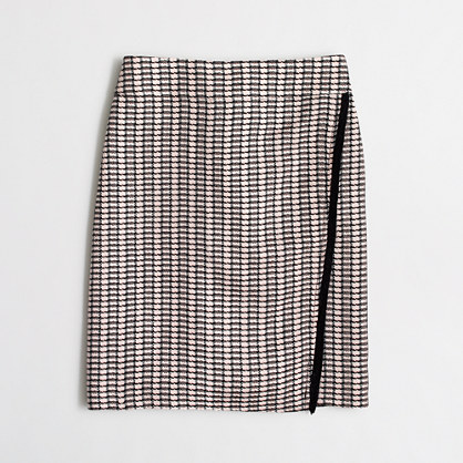 Wrap-front mini skirt in tweed
