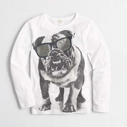 Boys' long-sleeve bulldog shades storybook T-shirt