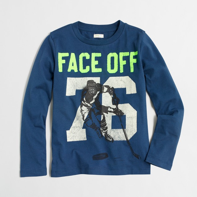 Boys' long-sleeve face-off storybook T-shirt