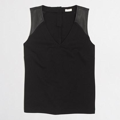 Leather shoulder ponte top