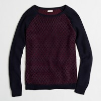 Bird's-eye stitch baseball sweater