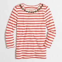 Embellished three-quarter-sleeve top