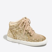 Girls' glitter high-top sneakers