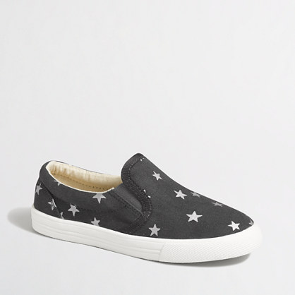 Girls' foil star slip-on sneakers