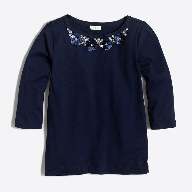 Girls' long-sleeve floral necklace T-shirt