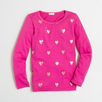 Girls' long-sleeve foil heart keepsake T-shirt