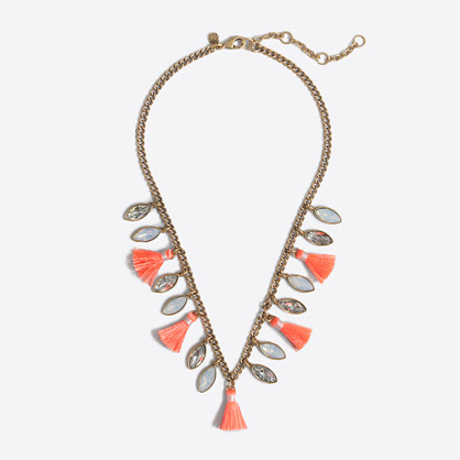 Stone and tassel necklace