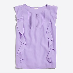 Sleeveless cascade ruffle blouse