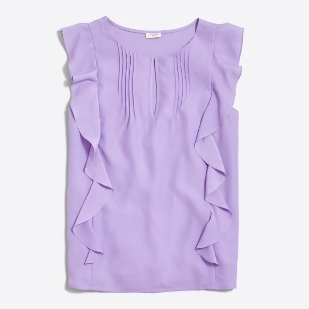 Sleeveless cascade ruffle blouse