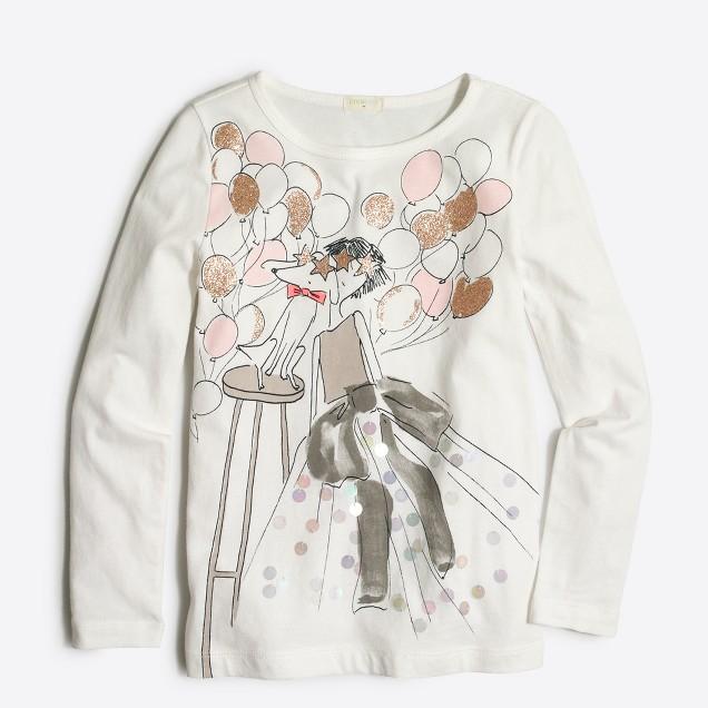 Girls' long-sleeve party girl keepsake T-shirt