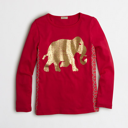 Girls' long-sleeve foil elephant keepsake T-shirt