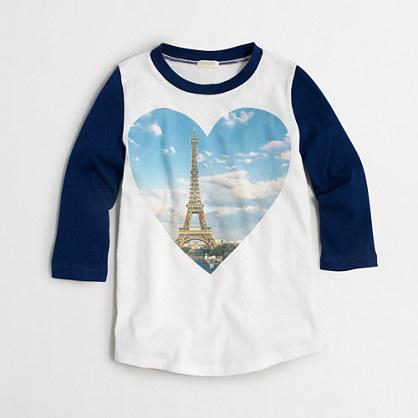 Girls' long-sleeve Eiffel Tower heart keepsake T-shirt