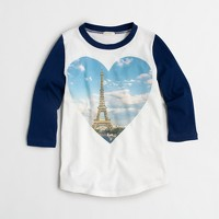 Girls' long-sleeve Eiffel Tower heart keepsake T-shirt