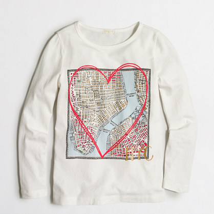Girls' long-sleeve NYC map keepsake T-shirt