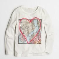 Girls' long-sleeve NYC map keepsake T-shirt