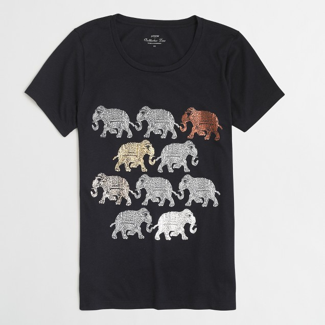 Walking elephants collector T-shirt in airy cotton