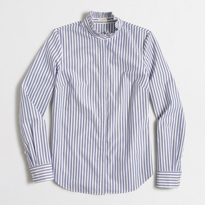 Striped ruffle-collar shirt
