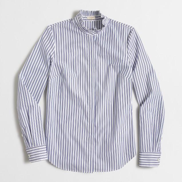 Striped ruffle-collar shirt