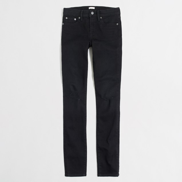 "Distressed black skinny jean with 28"" inseam"
