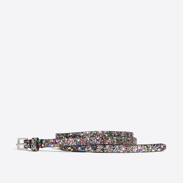 Girls' skinny glitter belt