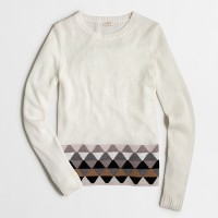 Geometric-striped-hem sweater