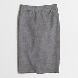 Factory tall pencil skirt in lightweight wool