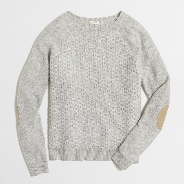 Textured knit raglan sweater with elbow patches