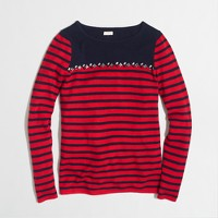 Breton-striped sweater with gems