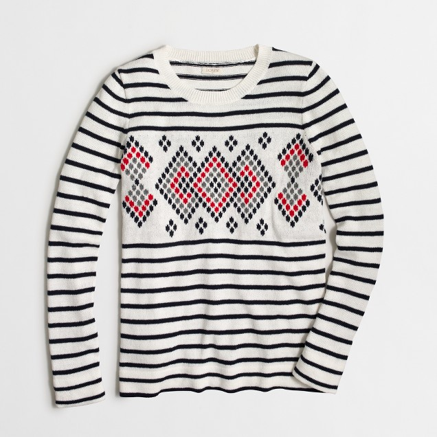 Placed-graphics striped sweater