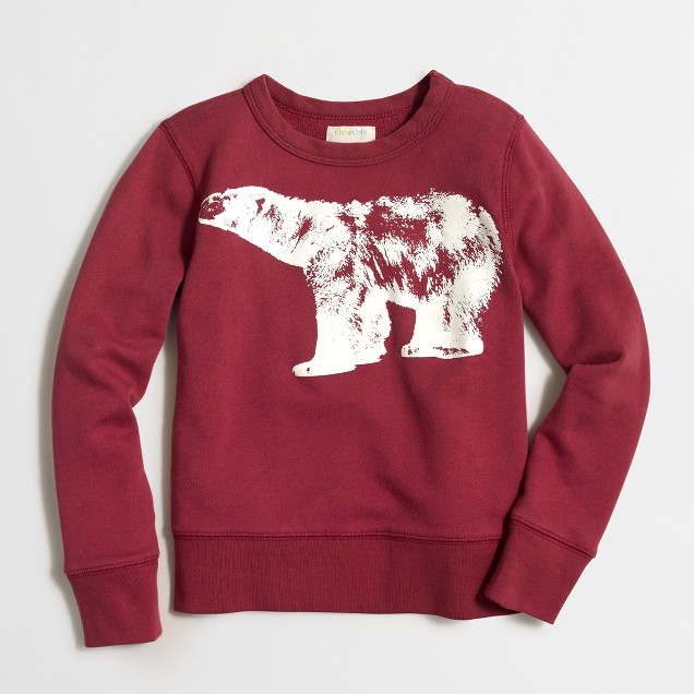 Boys' long-sleeve glow-in-the-dark polar bear sweatshirt
