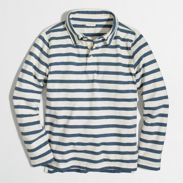 Boys' long-sleeve striped polo shirt