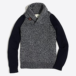Boys' contrast-sleeve marled shawl-collar popover sweater
