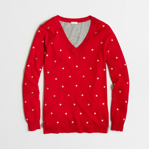 Embroidered dot tunic sweater
