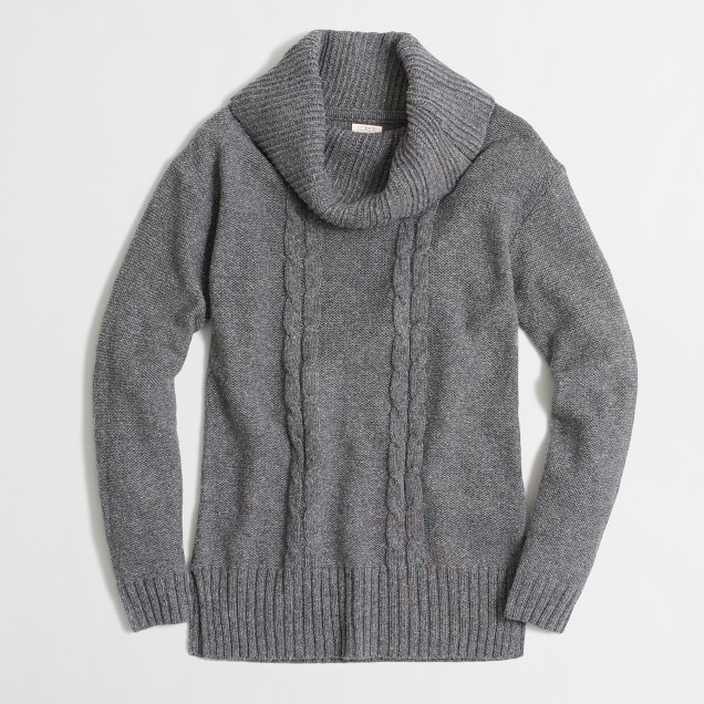 Placed cable-knit tunic sweater
